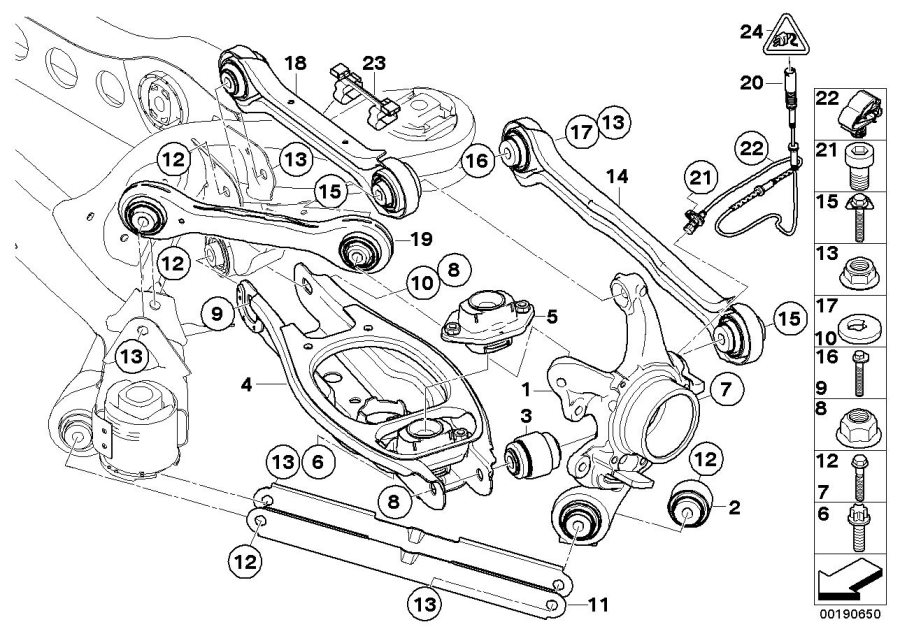 bmw 328i repair kit  trailing arm  value line  please  observe  axle