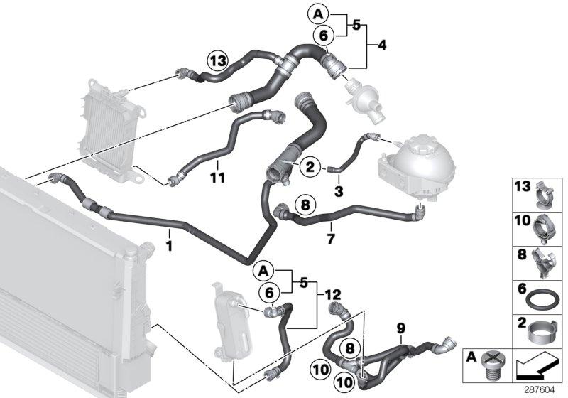 BMW 328i Coolant hose. Cooling, Hoses, System, Maintenance ...
