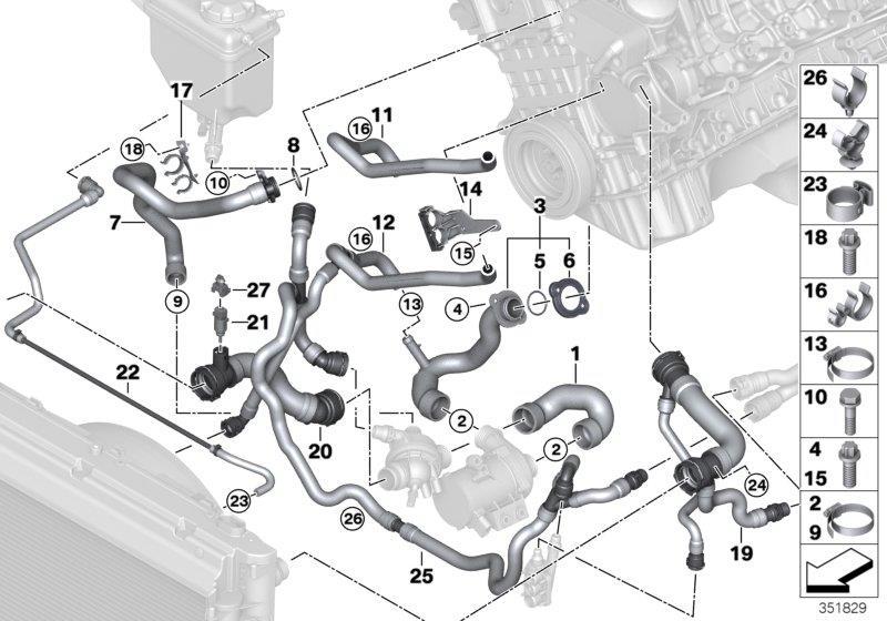 11537544638 bmw hose cylinder head thermostat cooling. Black Bedroom Furniture Sets. Home Design Ideas