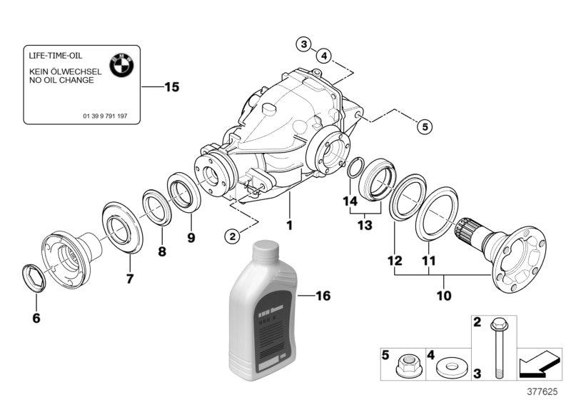 bmw x3 rear-axle-drive  i 40 9 4  44  suspension  output  differential