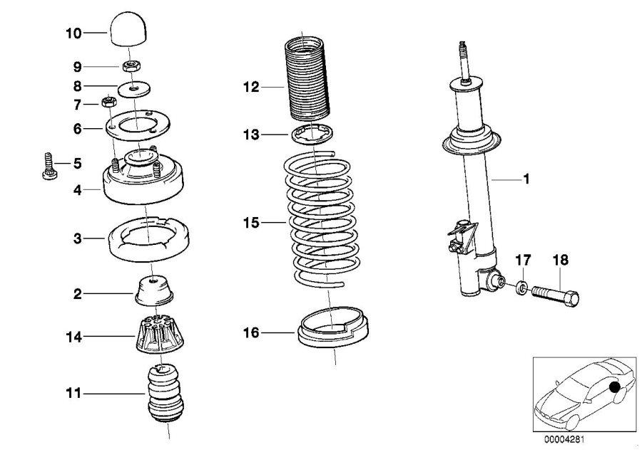 37121137672 bmw rear right spring strut suspension. Black Bedroom Furniture Sets. Home Design Ideas