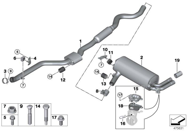 Bmw 228i Fixing Bow  System  Exhaust  Rear
