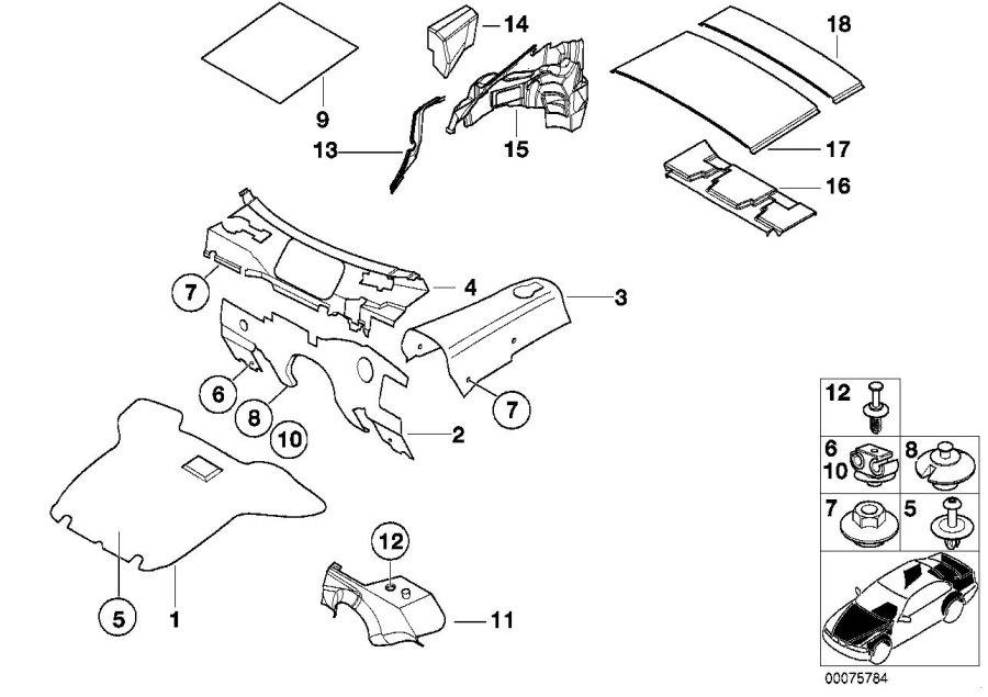 BMW Z3 Left LOWER B-COLUMN SOUND INSULATION - 51488399653 ...